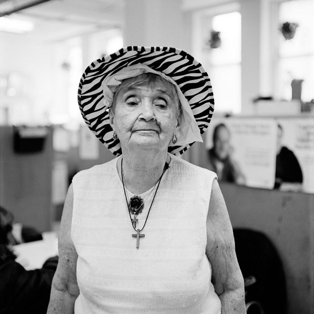 Marie in her new hat, Park Slope Senior Center, Brooklyn, New York 2013