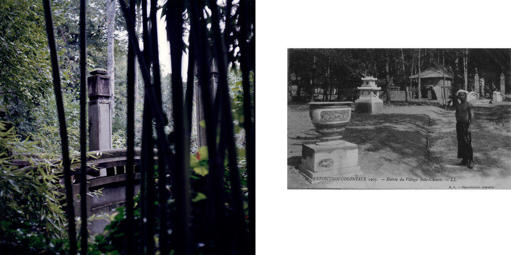 "Left: Le Pont Tonkinois/the Tonkinese Bridge, once the entrance to the ""Indochinese living village,"" is now surrounded by overgrown bamboo. Right: A historical photo depicts the entrance to the Indochinese living village during the 1907 colonial exposition. This section of the park featured live elephant training shown alongside people from mainland southeast Asia. Nogent-sur-Marne, France."