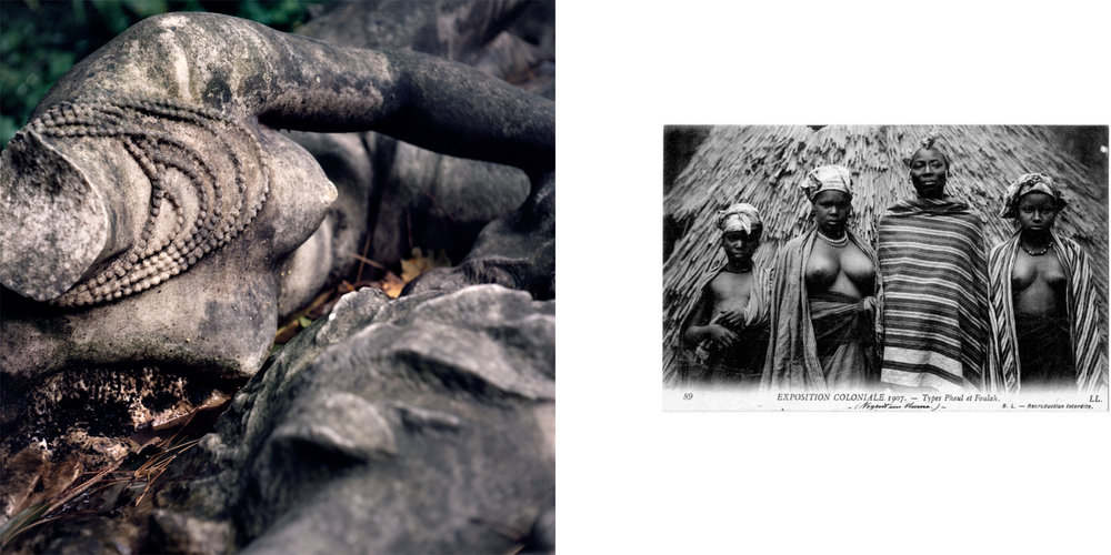 "Left: A fragment of a monument titled ""To The Glory of Colonial Expansion."" Right: A historical photo from the 1907 colonial exposition depicting women possibly of the Fula ethnic group (the text reads, ""Types Pheul et Foulah""). The use of the word ""types,"" as opposed to another term like ""femmes"" (women), is of note. ""Type"" is more often used in an informal way, or to describe different species. Nogent-sur-Marne, France."