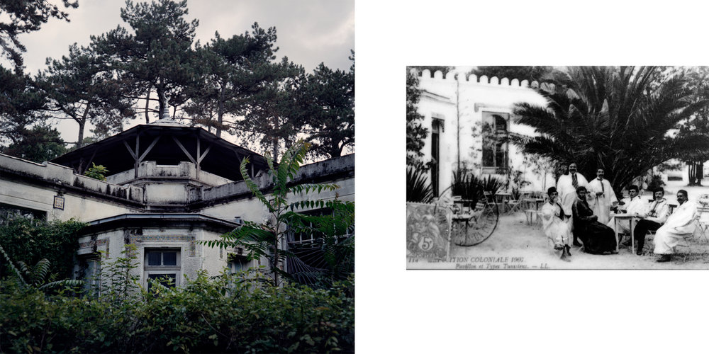 Left: The Tunisian pavilion was built for the 1907 colonial exposition. It displayed arts and crafts and also offered local food and drink. Like the Moroccan and Guyanese pavilions, it became a laboratory in the 1920s, with mention of genetic research during the height of the eugenics movement. In the 1970s tropical agriculture researchers used the laboratories for plant and soil analysis. Right: A historical photo from the 1907 colonial exposition shows the Tunisian pavilion and men from Tunisia. Nogent-sur-Marne, France.