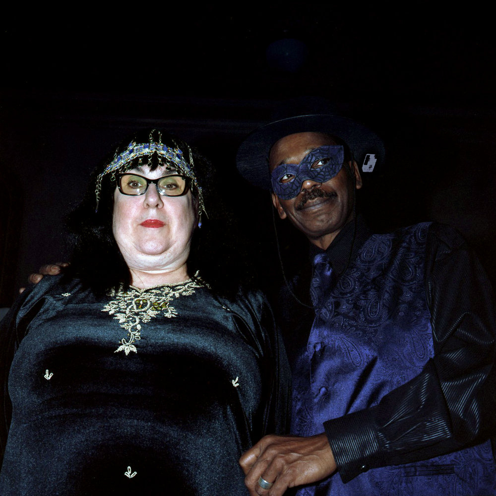 Sally as Cleopatra and Charles as Zorro at a costume ball for the blind, Chicago, Illinois 2013