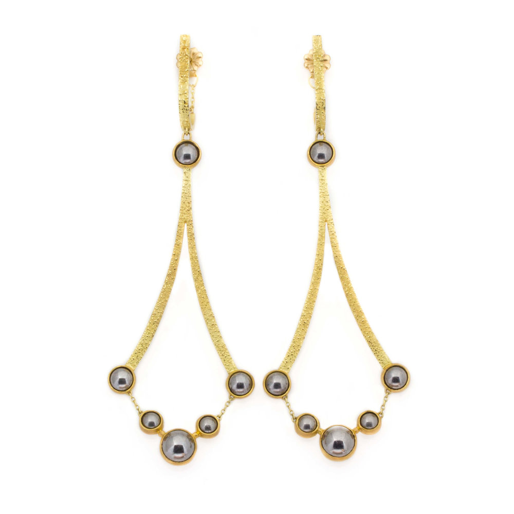 Kate Eickelberg | 18k Yellow Gold Ball Bearing Chandelier Earrings
