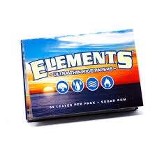Elements 1 1/4 Rolling Papers -  Elements Rolling Papers are made from natural earth friendly materials: rice and sugar. They are not produced by using harsh chemicals or burn agents. They burn with virtually zero ash except for the natural sugar gum turning into caramel as it burns.   Suggested Retail  - $3 per pack