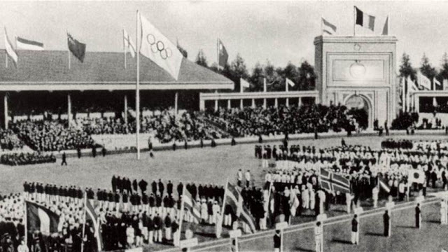 The  Olympic flag  was raised for the  first  time at the  1920  Games