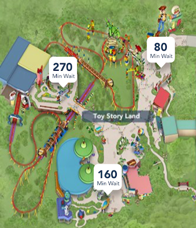 (06/30/2018) Opening Day wait times for Toy Story Land were off the charts! That's a 4.5 hour wait for Slinky Dog Dash!