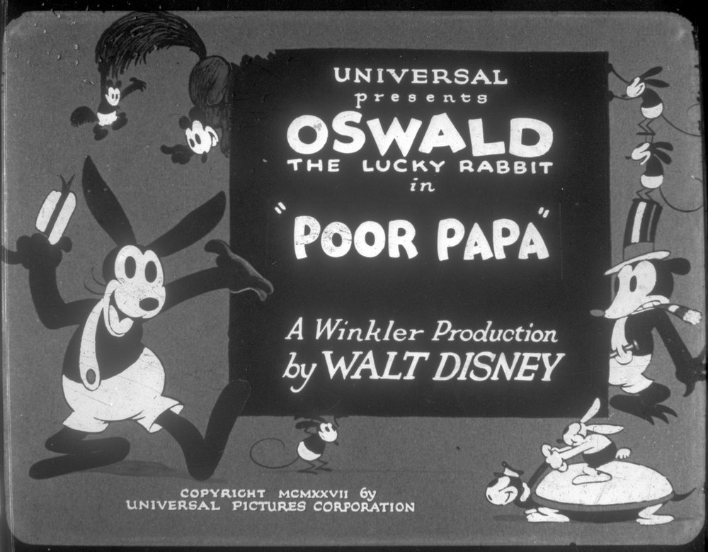 """The title card for Oswald's first Animated Short, """"Poor Papa"""" (1927)"""