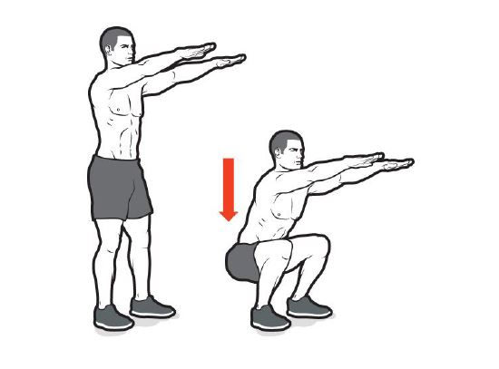Bodyweight Squats - 20 reps, 2x