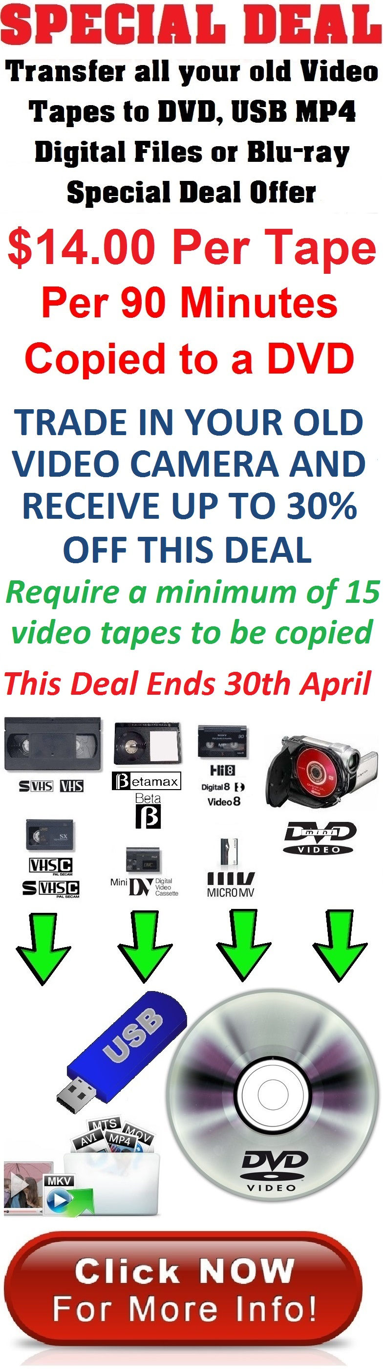 VHS to DVD $14.00 per tape PER 90 MINUTES 2019 special offer deal - transfer all your old video tapes for this amazing price