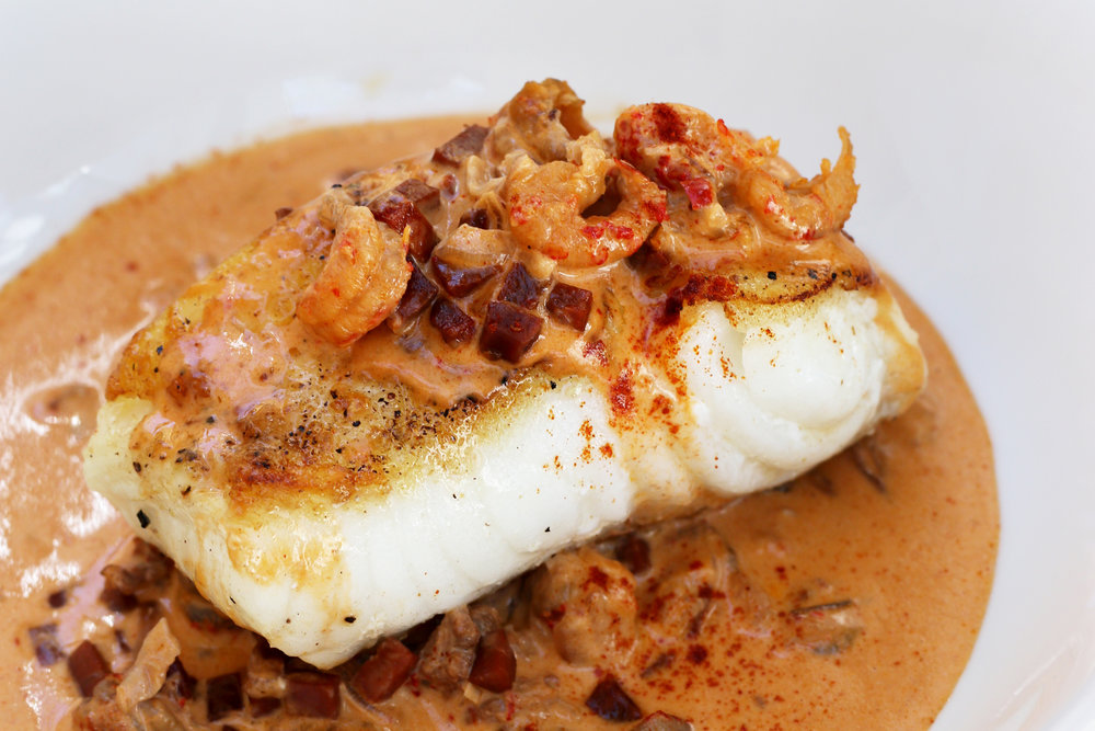 LOW CARB KETO LOUISIANNA STYLE CREAMY CRAWFISH AND CHORIZO HALIBUT RECIPE.jpg