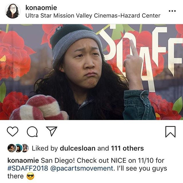Join creator/writer/star Naomi Ko at #SDAFF2018 on Saturday, November 11 at 1 pm for a special screening of #NiceTheSeries!