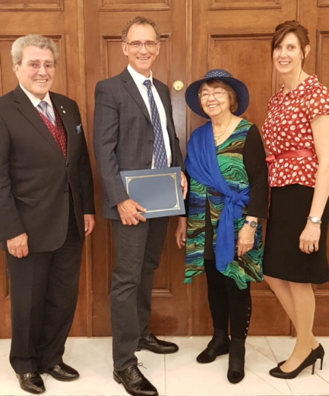 Dr. Jock and Janet Murray made the bursary presentation to Dr. Fowler at the Victoria Day Tea on Monday, May 21, 2018.