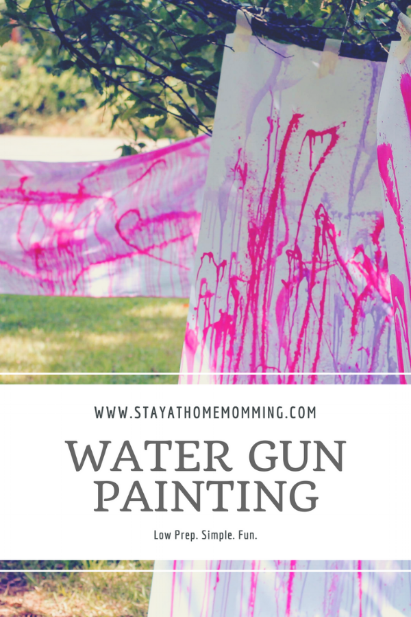 Water Gun Painting- Fun process art for toddlers, preschoolers, and older children--even adults! This is a great Summer Bucket List Activity