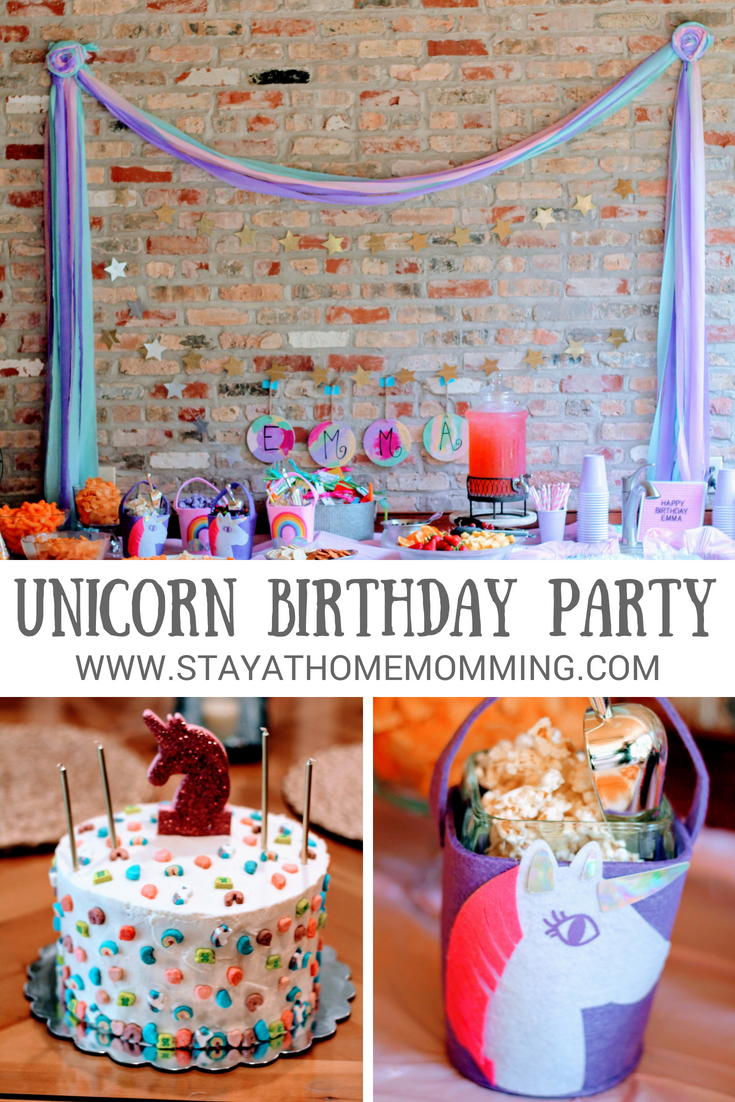 Unicorn Birthday Party--4 year old girl birthday party-Unicorn cake with lucky charms--Unicorn decorations