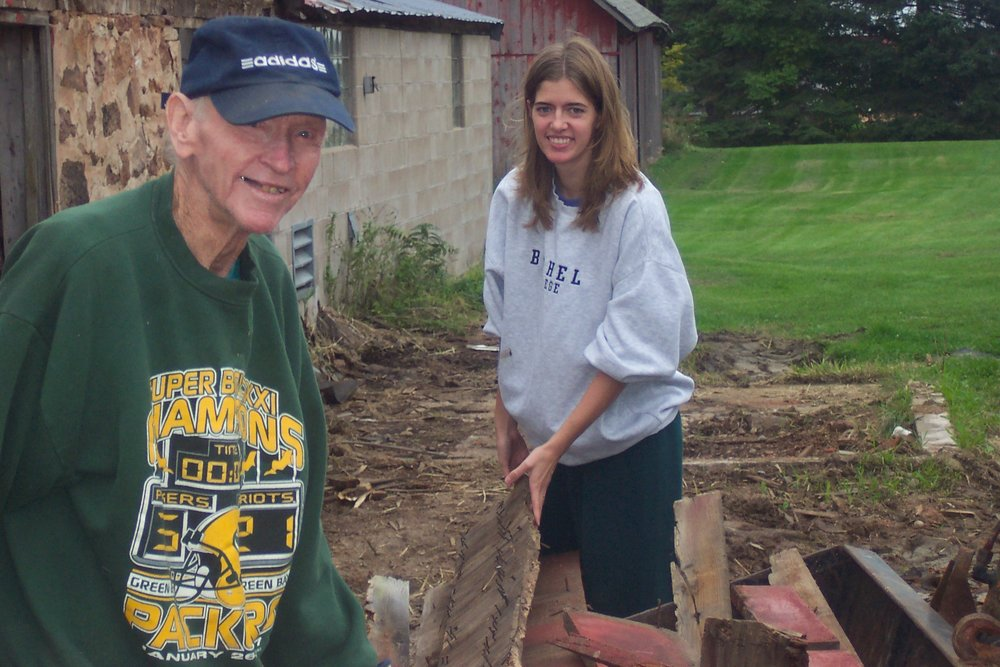 Working on the farm with G'pa two months before he passed away.