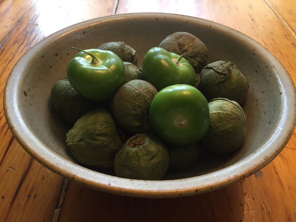 Fresh Tomatillos - peel off the papery skins and wash before using.