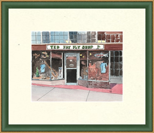 Lindsay framed this painting of the  Ted Fay Fly Shop  in Dunsmuir. Artist Colin Cho