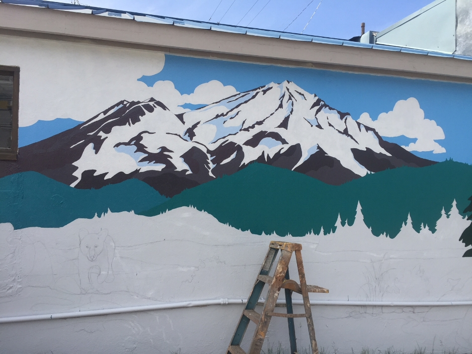 kim solga mural at S. mt. shasta blvd. & ida  in progress june 6, 2018