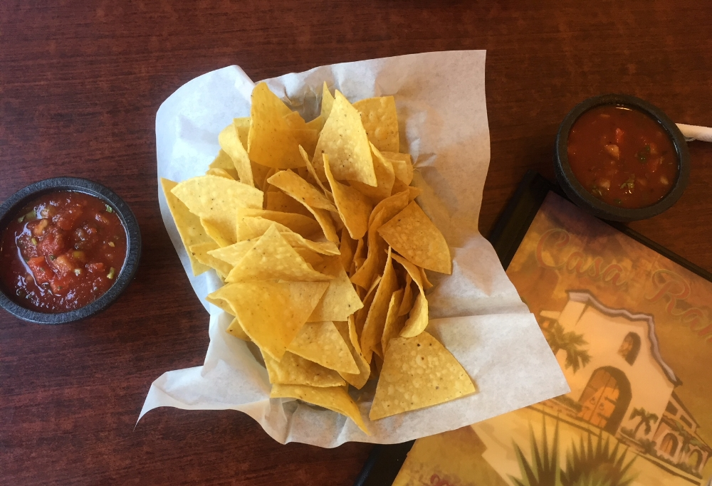 Every meal at Casa Ramos begins with warm salty tortilla chips and spicy housemade salsa.