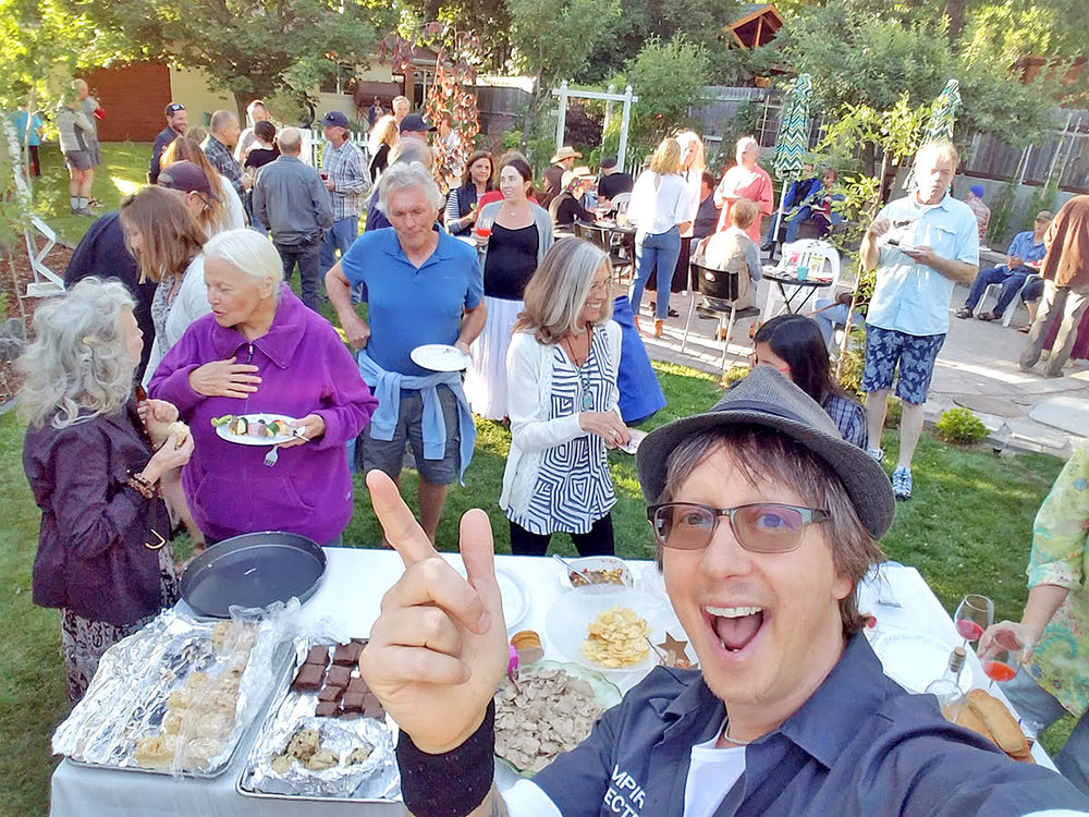 Nikolas celebrating at their 2018 Sizzlin' Summer backyard party