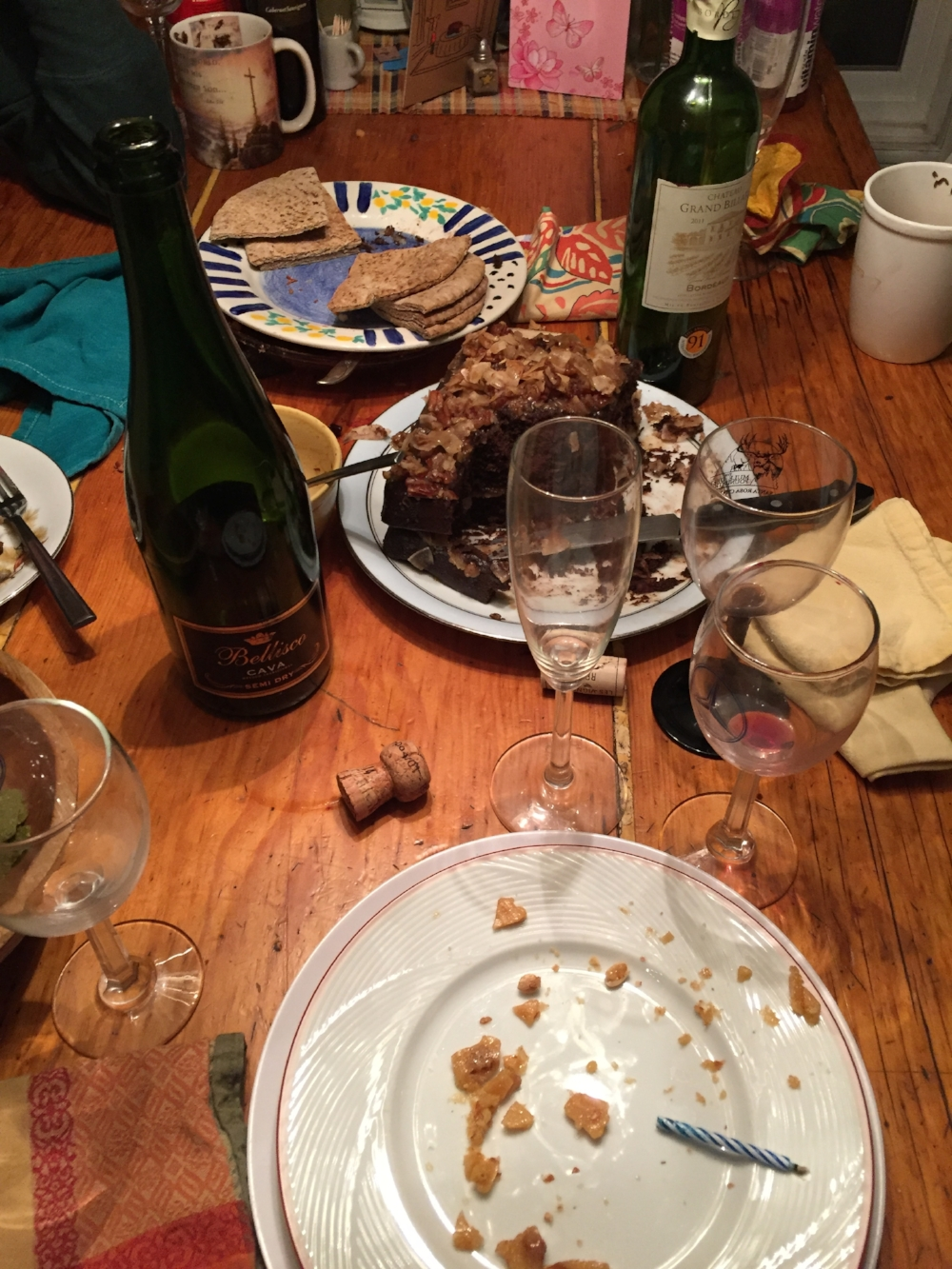The table after a pot luck birthday party.