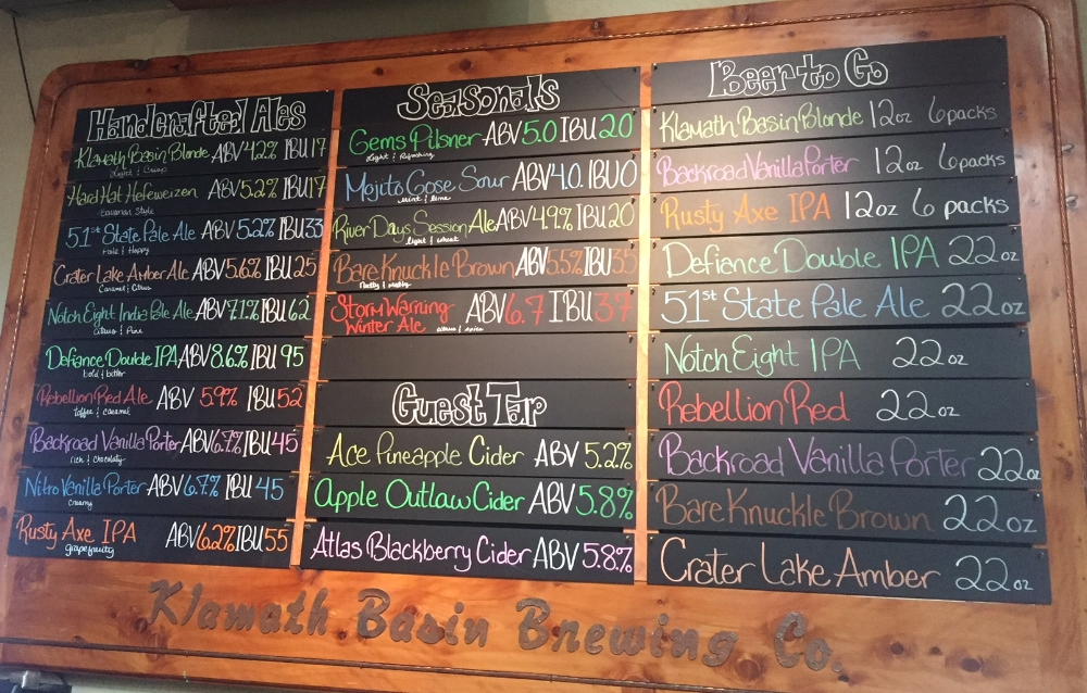 The Chalkboard lets you know what's available. They sell growlers and bottle brews to-go.