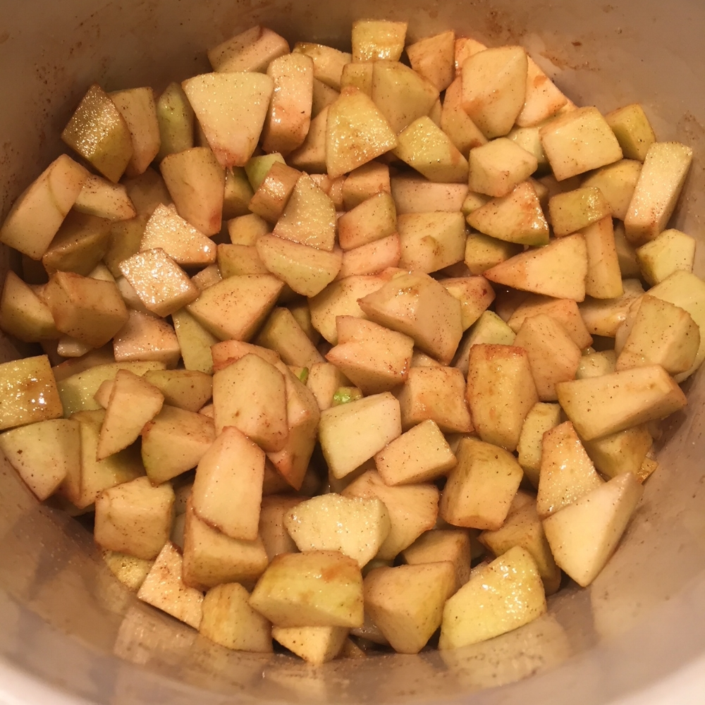 Add cubed peeled and cored apples to the spice mix, stir and let the Crock Pot do the work.