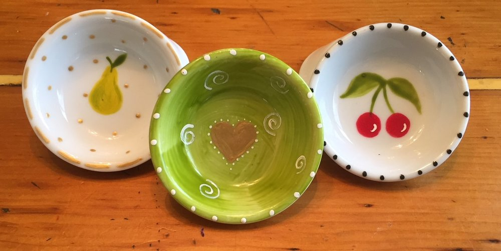 These sweet little dishes were painted by my friend Cami. I use them every day.
