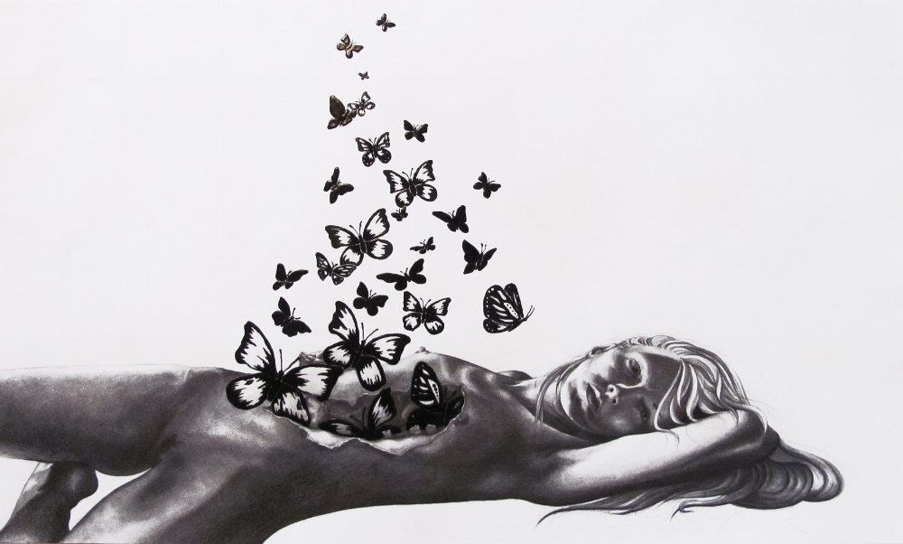 Chrysalis 2011 - pencil drawing by Brenda Eastman