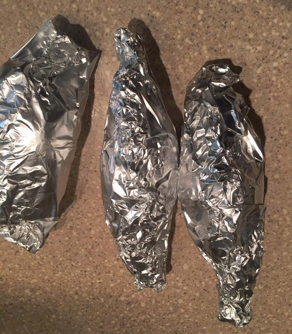 Seal the potatoes in tin foil.