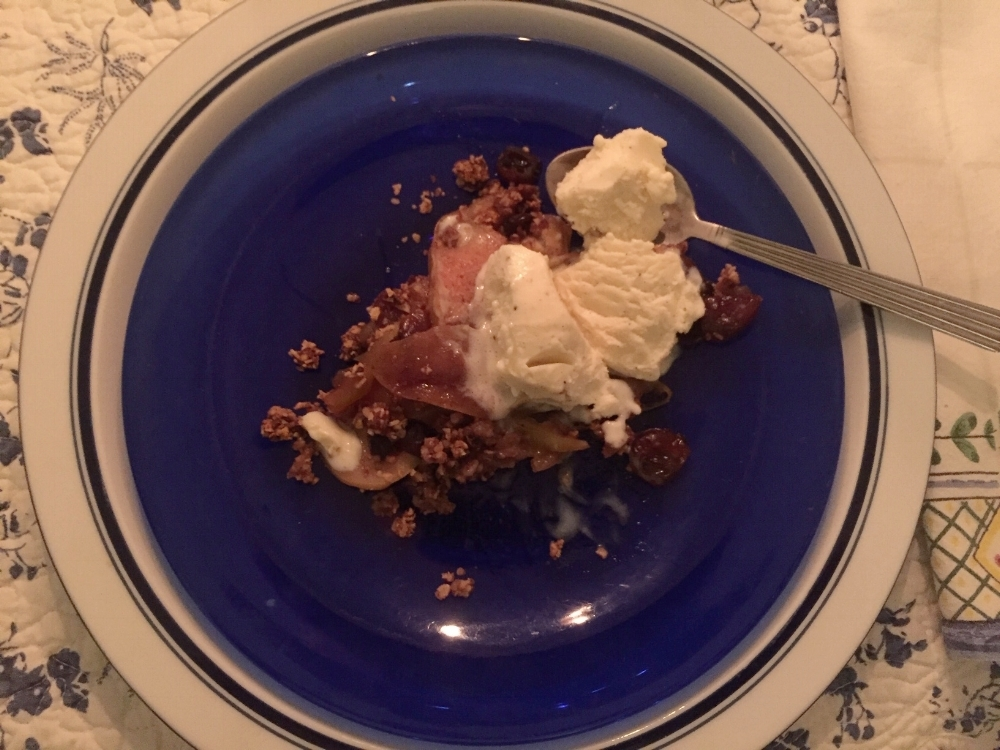 """Apple crisp with a vanilla soy ice cream - by substituting apples in the recipe she got ""The crisp I was after."""