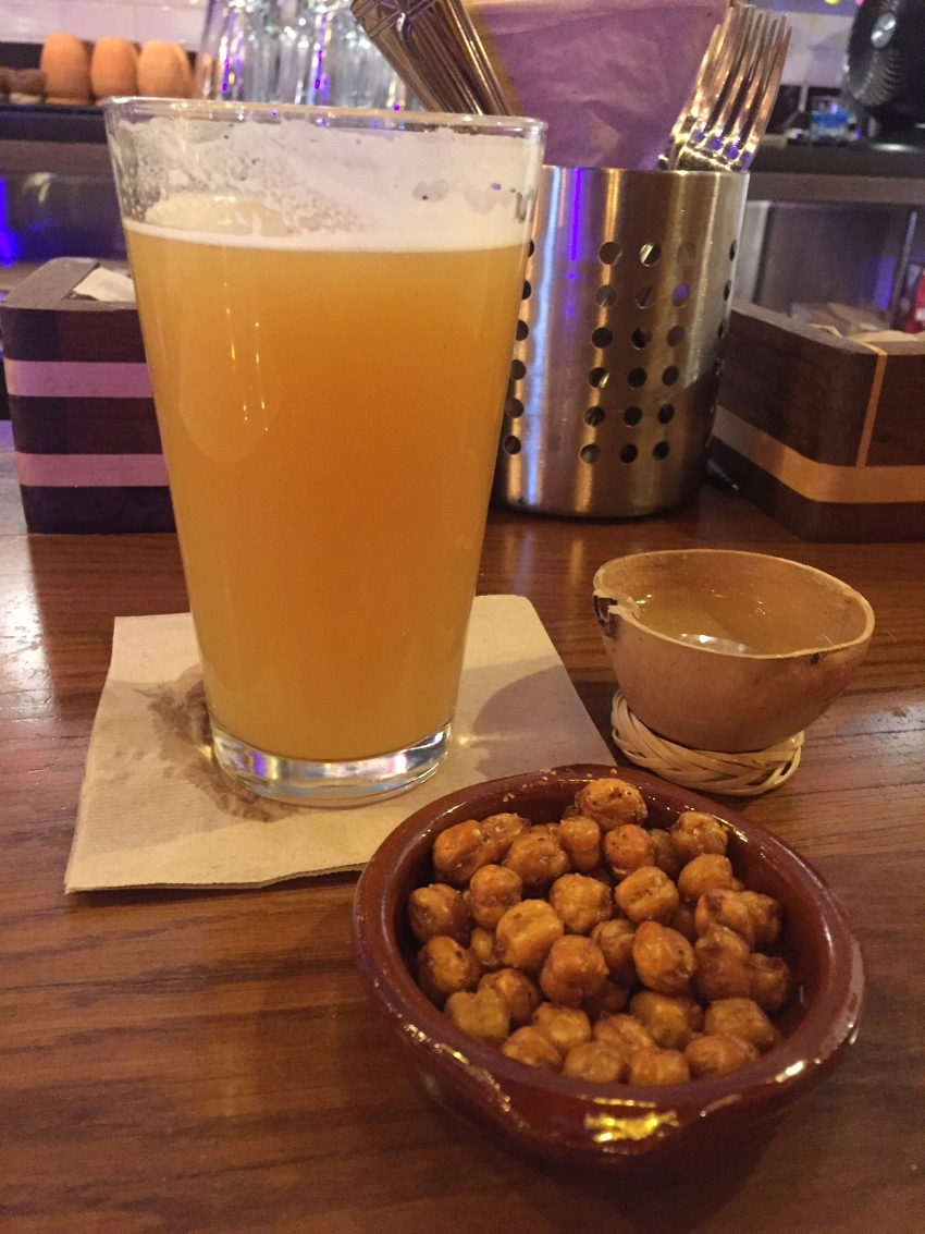 Chick peas are their bar snack they go great with beer and mezcal!