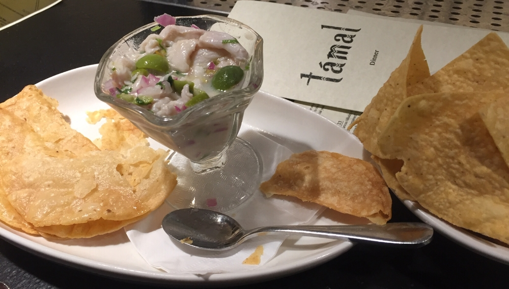 Ceviche with warm and salty house made chips