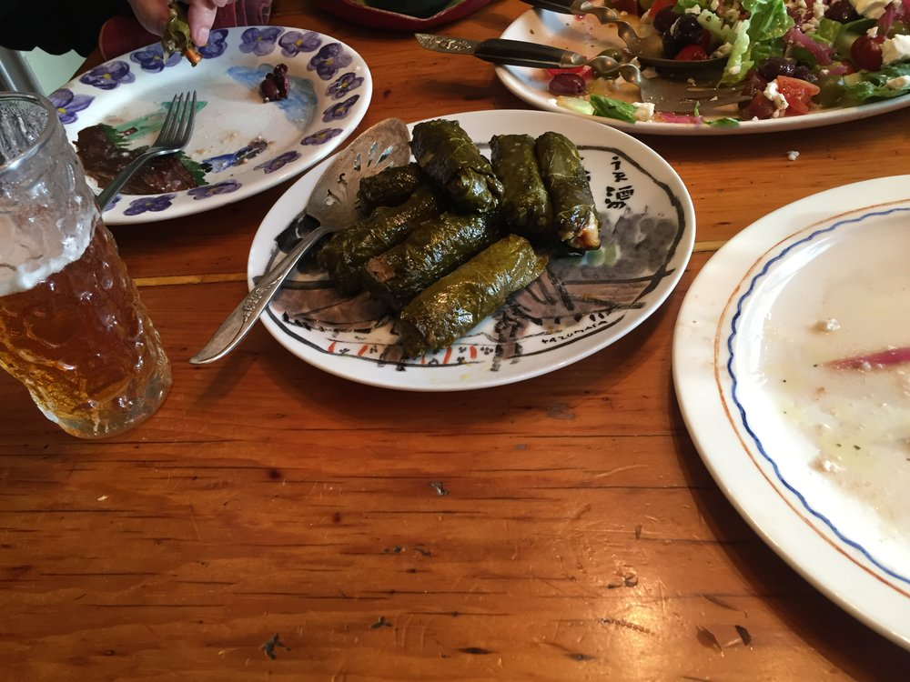 Sharing the a Greek themed meal.  Here's the recipe for Stuffed Grape Leaves