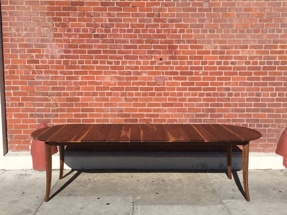 Three leaf walnut extension table