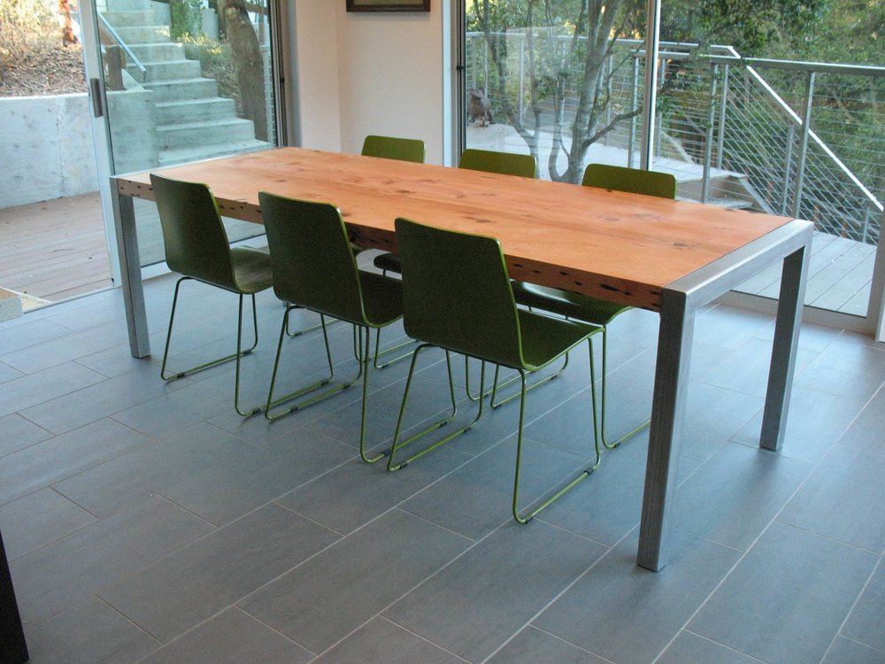 Doug fir and stainless steel table