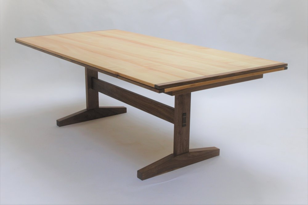 Maple and walnut draw leaf table