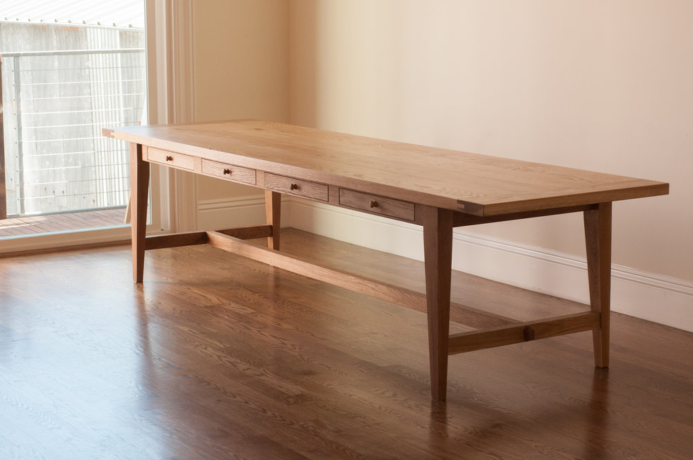 White oak farm table