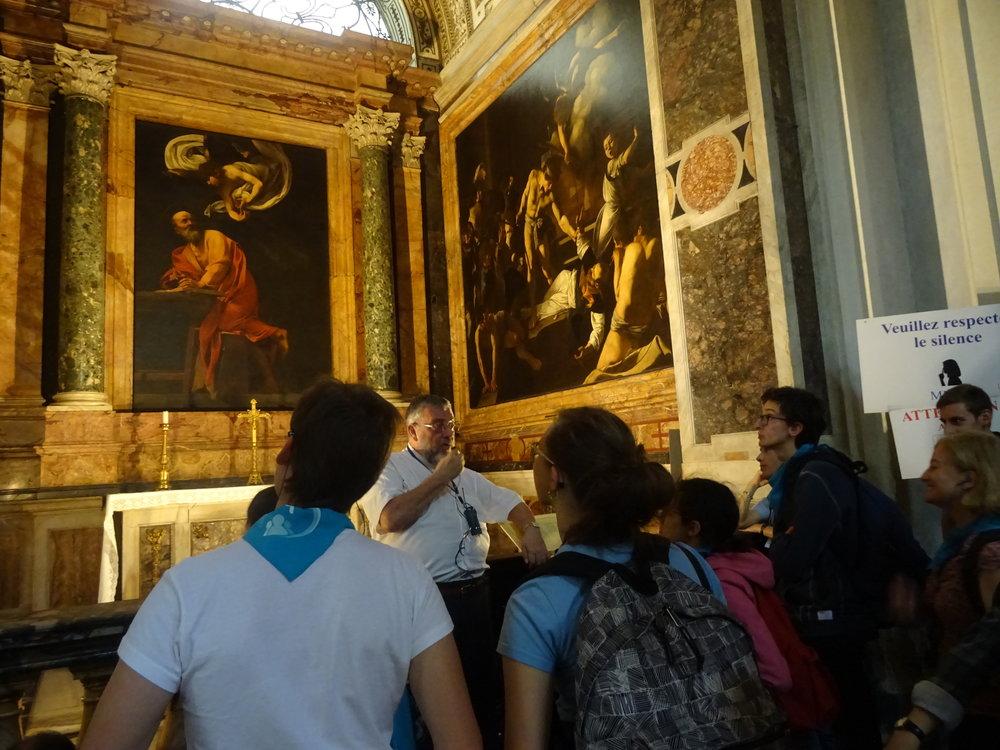 Basilique St Louis des Français : visite guidé par le recteur qui nous présente les œuvres de Caravage