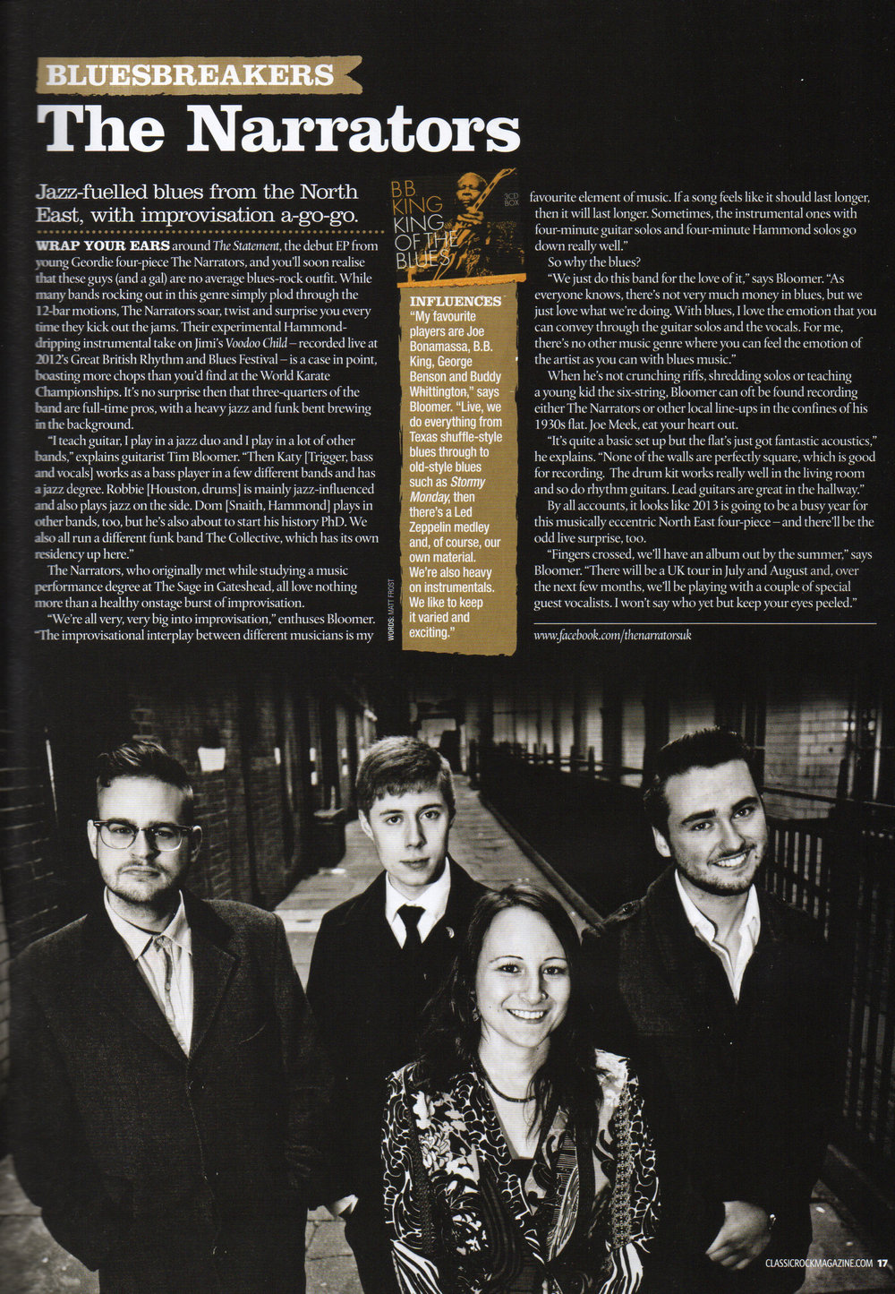 The Narrators featured in Classic Rock Magazine - Fabulous Newcastle Band photographed in one of the city's cool alleyways.