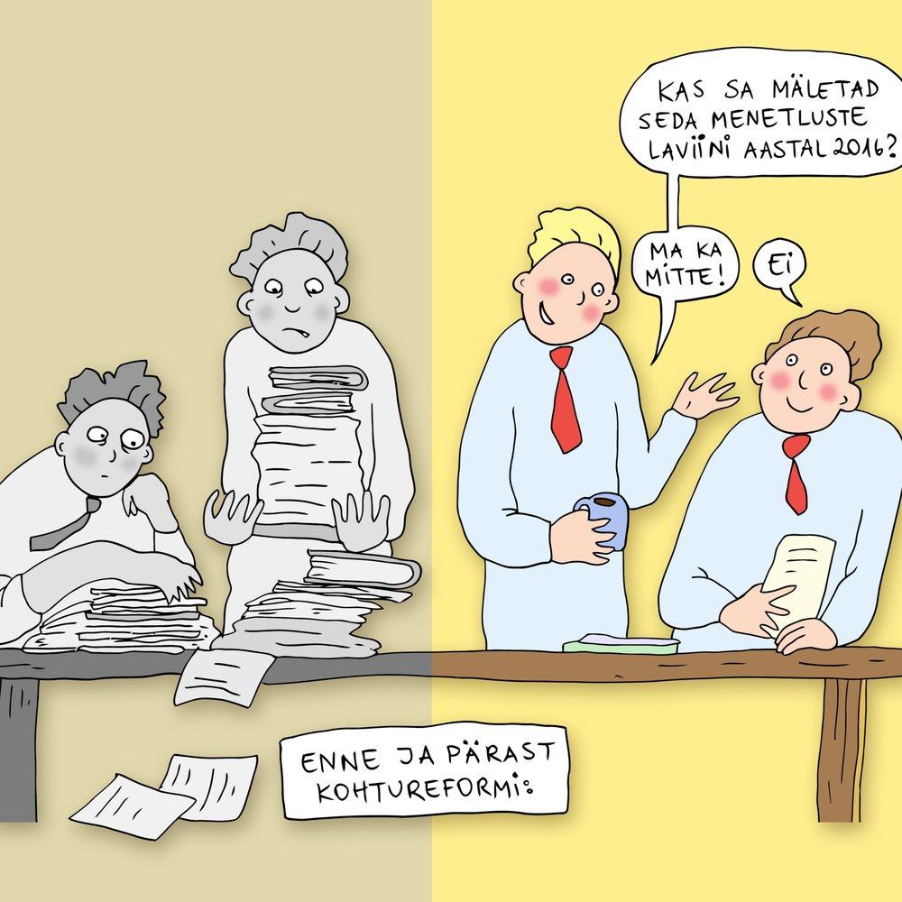 """14.12   (illustratsioon: Ave Taavet)   Teeme ettepaneku algatada """"Kohtureform 2.0"""".  Miks? Ikka selleks, et vähendada kohtumenetluste lohisevat pikkust ja ebavajalikku kallidust."""