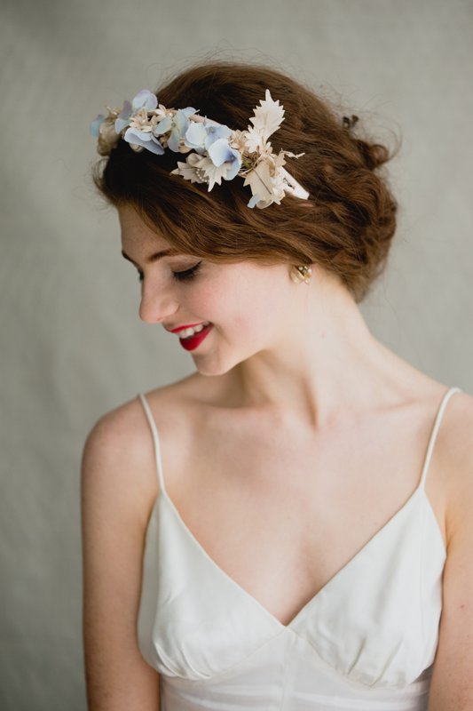 Vintage Floral Headpieces   A dramatic floral crown or side comb is the perfect finishing touch for your Boho bridal style. But why worry about fresh flowers wilting when you can choose a vintage floral headpiece. These are often made with petals of silk and velvet and decorated with pearls and beading.