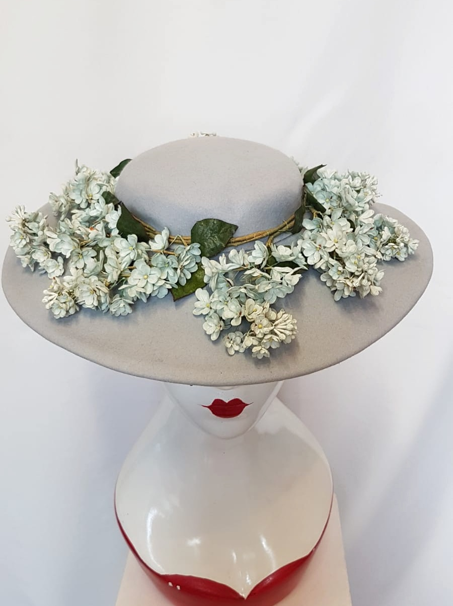 1940's dusky grey, wide brim hat with flowers