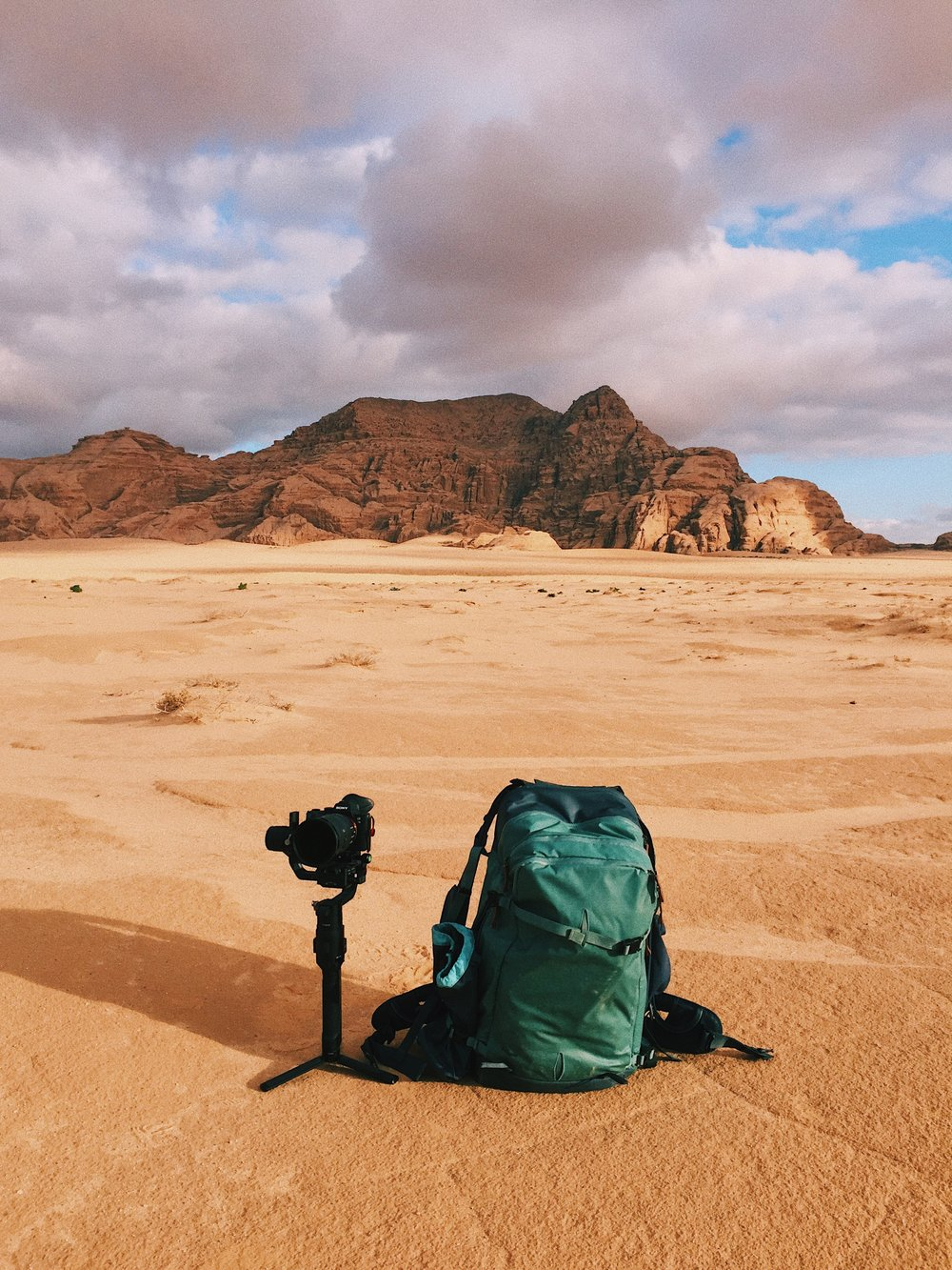 The Shimoda Designs Explore 40 in the desert. I've been strapping the Ronin-S to the tripod pocket.