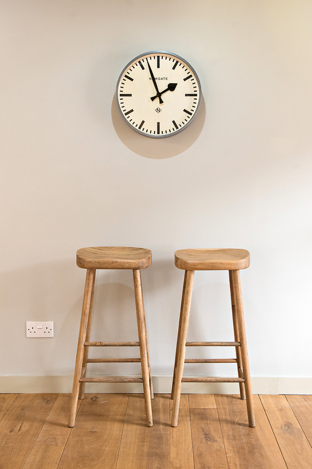 Newgate Clock: £90 Oak Bar Stools: £ -