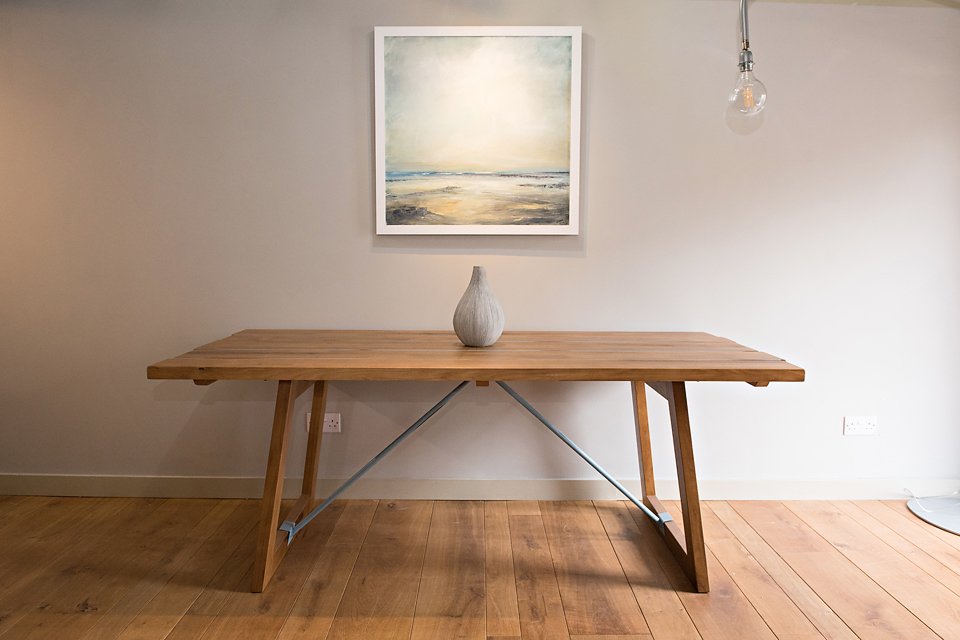 John Bray Oil on Canvas  textured Vessel  Italian Powdered Aluminum inlayed Table