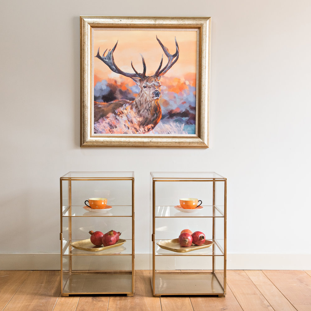 Stag Print on Canvas  Display cabinets Brass Trays Assorted decorative fruits -