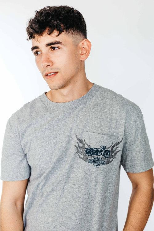 60d71515 Grey Harley Davidson Crew Neck T Shirt ...