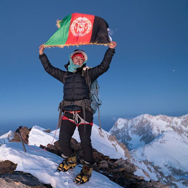 Hanifa stands on the summit of Mt Noshaq, becoming the first Afghan woman to scale the 7,492m peak. . . I learned a few Dari phrases out there, 'Ob bonoosh' was drink water. 'Habi Hanifa!' was strong Hanifa! I used it pretty bloody regularly. . .  You can read a full interview with her here - https://explorersweb.com/2018/10/16/an-interview-with-hanifa-yousoufi-first-afghan-woman-to-climb-mt-noshaq/ . .  #mountains #afghanistan #expedition #adventure #climbing #ascend #altitude #night #summit #sony #a7sii