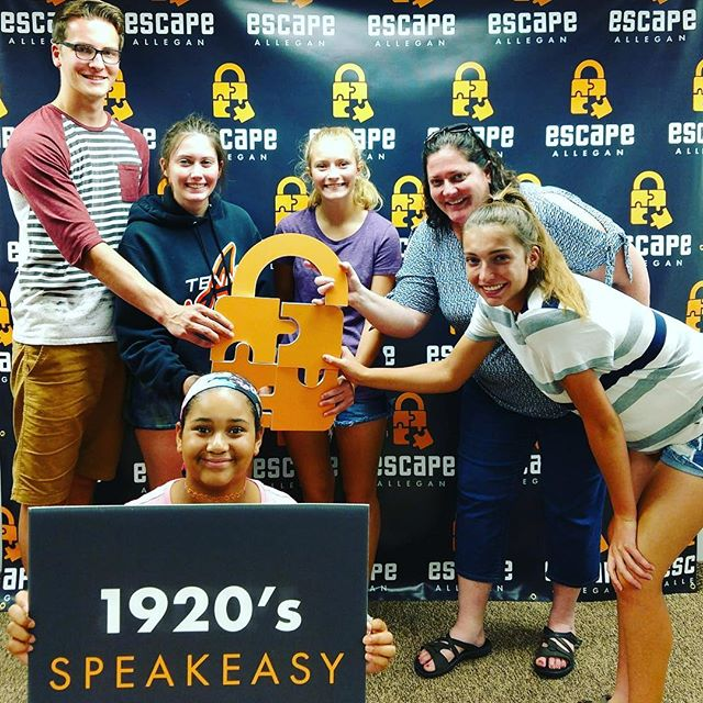 "We have another escapee! Team ""The Young Sleuths"" has now claimed first place in our 1920 Speakeasy.  Congrats!  #escapeallegan #escaperoom #allegan #friends #fun #adventure #puzzle #escapee #friday #fridaymood"