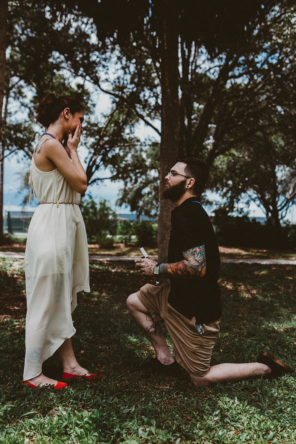 Man gets down on one knee at Three Oaks Park and proposes as girlfriend holds her face in surprise